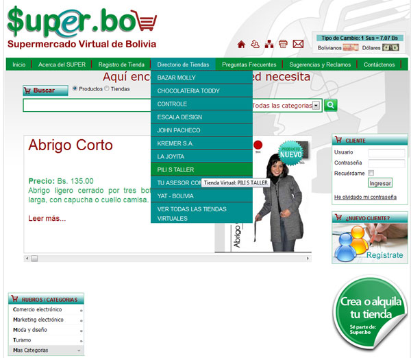 Sistema de tiendas virtuales – super.bo